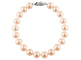 6-6.5mm Pink Cultured Freshwater Pearl 14k White Gold Line Bracelet 7 1/2 inches