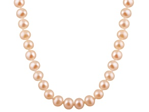 6-6.5mm Pink Cultured Freshwater Pearl 14k Yellow Gold Strand Necklace 24 inches