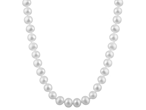 6-6.5mm White Cultured Freshwater Pearl Sterling Silver Strand Necklace