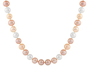 6-6.5mm Multi-Color Cultured Freshwater Pearl 14k Yellow Gold Strand Necklace