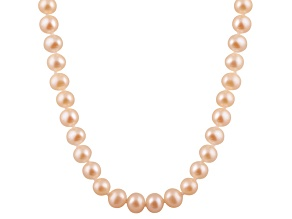 6-6.5mm Pink Cultured Freshwater Pearl 14k Yellow Gold Strand Necklace 18 inches