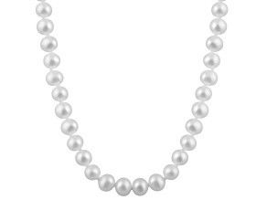 6-6.5mm White Cultured Freshwater Pearl 14k White Gold Strand Necklace 14 inches
