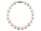 10-10.5mm Multi-Color Cultured Freshwater Pearl Sterling Silver Line Bracelet