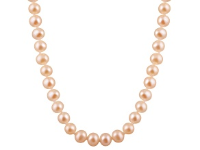 10-10.5mm Pink Cultured Freshwater Pearl 14k Yellow Gold Strand Necklace