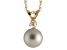 7-7.5mm Cultured Freshwater Pearl With Diamond 14k Yellow Gold Pendant