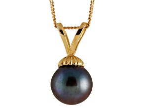 8-8.5mm Black Cultured Freshwater Pearl 14k Yellow Gold Pendant With Chain