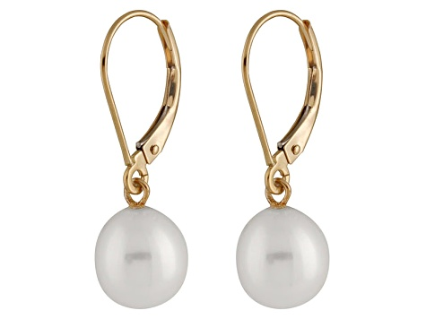 7 5mm White Cultured Freshwater Pearl 14k Yellow Gold Leverback Earrings