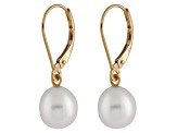 7-7.5mm White Cultured Freshwater Pearl 14k Yellow Gold Leverback Earrings