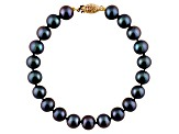 9-9.5mm Black Cultured Freshwater Pearl 14k Yellow Gold Line Bracelet 8 inches