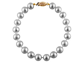 9-9.5mm Silver Cultured Freshwater Pearl 14k Yellow Gold Line Bracelet 8 inches