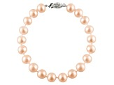 9-9.5mm Pink Cultured Freshwater Pearl 14k White Gold Line Bracelet 8 inches