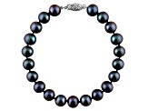 9-9.5mm Black Cultured Freshwater Pearl Sterling Silver Line Bracelet 8 inches