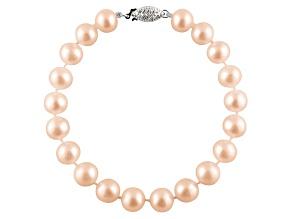 9-9.5mm Pink Cultured Freshwater Pearl Sterling Silver Line Bracelet
