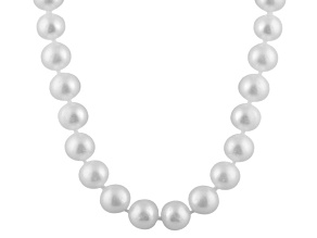 9-9.5mm White Cultured Freshwater Pearl 14k White Gold Strand Necklace 24 inches