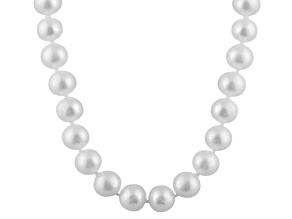 9-9.5mm White Cultured Freshwater Pearl 14k White Gold Strand Necklace 20 inches