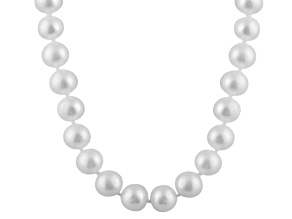 9-9.5mm White Cultured Freshwater Pearl 14k Yellow Gold Strand Necklace