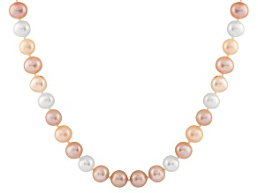 9-9.5mm Multi-Color Cultured Freshwater Pearl Sterling Silver Strand Necklace
