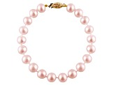 8-8.5mm Purple Cultured Freshwater Pearl 14k Yellow Gold Line Bracelet 8 inches