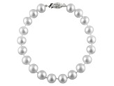8-8.5mm White Cultured Freshwater Pearl Sterling Silver Line Bracelet 8 inches