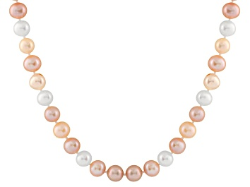 Picture of 8-8.5mm Multi-Color Cultured Freshwater Pearl Sterling Silver Strand Necklace