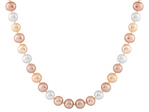 8-8.5mm Multi-Color Cultured Freshwater Pearl Sterling Silver Strand Necklace