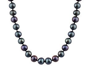 8-8.5mm Black Cultured Freshwater Pearl 14k White Gold Strand Necklace 24 inches