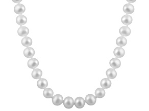 8-8.5mm White Cultured Freshwater Pearl 14k White Gold Strand Necklace 16 inches
