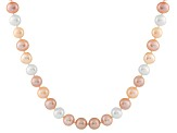 8-8.5mm Multi-Color Cultured Freshwater Pearl 14k White Gold Strand Necklace