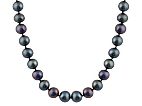 8-8.5mm Black Cultured Freshwater Pearl Sterling Silver Strand Necklace