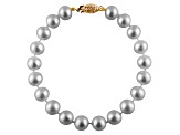 7-7.5mm Cultured Freshwater Pearl 14k Yellow Gold Line Bracelet 7 1/2 inches
