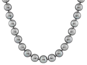 7-7.5mm Silver Cultured Freshwater Pearl 14k Yellow Gold Strand Necklace