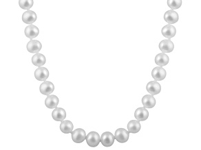 7-7.5mm White Cultured Freshwater Pearl 14k White Gold Strand Necklace 18 inches