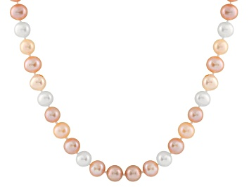 Picture of 7-7.5mm Multi-Color Cultured Freshwater Pearl Sterling Silver Strand Necklace