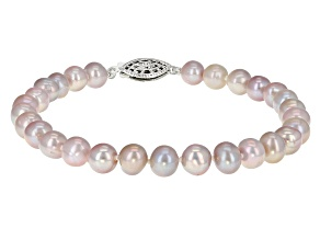 6-6.5mm Purple Cultured Freshwater Pearl Sterling Silver Line Bracelet 7.25 inches