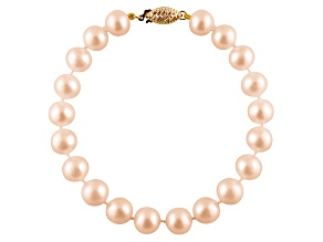 6-6.5mm Pink Cultured Freshwater Pearl 14k Yellow Gold Line Bracelet