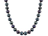 6-6.5mm Black Cultured Freshwater Pearl 14k White Gold Strand Necklace 24 inches