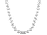 6-6.5mm White Cultured Freshwater Pearl 14k White Gold Strand Necklace 24 inches