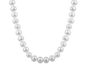 6-6.5mm White Cultured Freshwater Pearl 14k White Gold Strand Necklace 20 inches