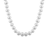 6-6.5mm White Cultured Freshwater Pearl 14k Yellow Gold Strand Necklace