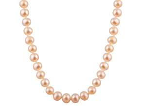6-6.5mm Pink Cultured Freshwater Pearl 14k White Gold Strand Necklace 14 inches