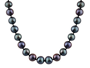 Pearlfection® 6-6.5mm Black Cultured Freshwater Pearl Rhodium Over Sterling Silver Strand Necklace