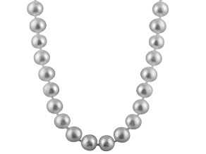 11-11.5mm Silver Cultured Freshwater Pearl 14k Yellow Gold Strand Necklace