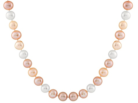 11-11.5mm Multi-Color Cultured Freshwater Pearl 14k White Gold Strand Necklace