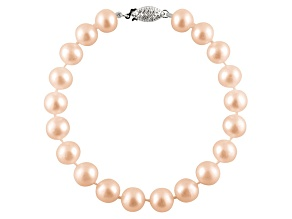 10-10.5mm Pink Cultured Freshwater Pearl 14k White Gold Line Bracelet 7.25 inches