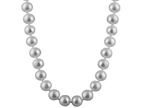 10-10.5mm Silver Cultured Freshwater Pearl 14k White Gold Strand Necklace