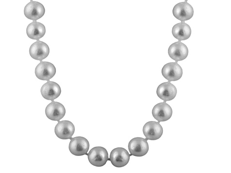 10-10.5mm Silver Cultured Freshwater Pearl Sterling Silver Strand Necklace