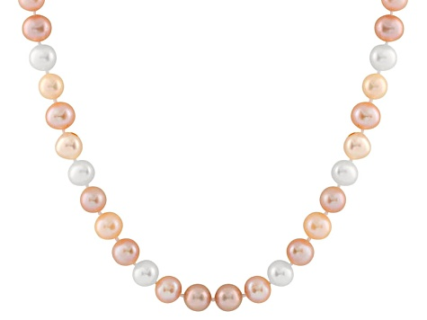 10-10.5mm Cultured Freshwater Pearl 14k Yellow Gold Strand Necklace 18 inches