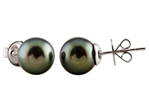 9-9.5mm Cultured Tahitian Pearl Rhodium Over Sterling Silver Stud Earrings