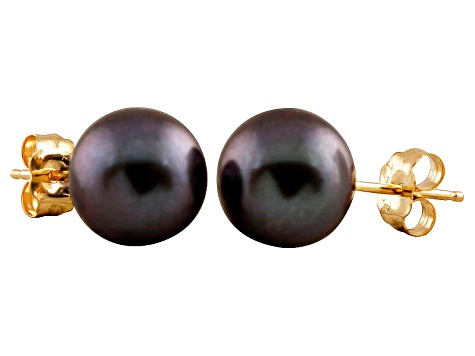 7-7.5mm Black Cultured Freshwater Pearl 14k Yellow Gold Stud Earrings