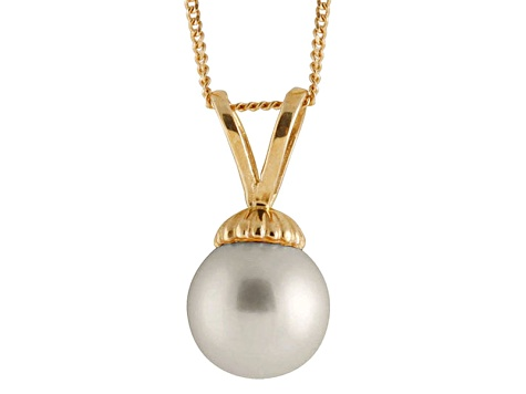 8-8.5mm Silver Cultured Freshwater Pearl 14k Yellow Gold Pendant With Chain